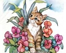 Kitten Watercolor Print, Artist Laurie Korsgaden, Vintage Art Print, Blue Eyed Tabby Cat in Pansies, Gift Idean Cat Lover, 5 X 7 Kitty Art