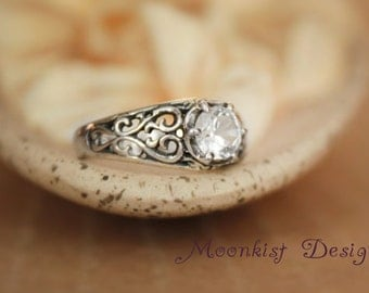 Size 5 - White Sapphire Filigree Engagement Ring Sterling - Silver Unique Engagement Promise Ring - White Sapphire Ring -Ready to Ship