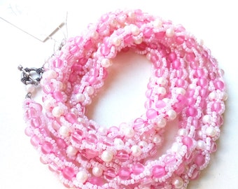 Pink crocheted Turkish Rope beaded necklace, long necklace, pink bead, Pink Lady necklace, gift for her, only one!  5 shades of Pink!