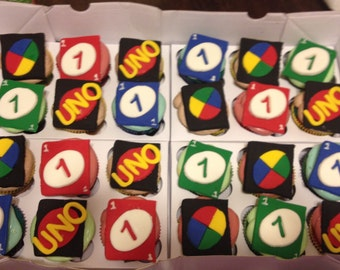 24 First birthday Uno card fondant cupcake toppers