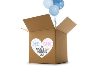 Custom Name Gender Reveal Box Heart Sign - Gender Reveal Idea - Gender Reveal Party Decoration - Gender Reveal Digital File ONLY