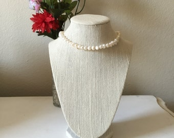 Faux White Pearl Necklace
