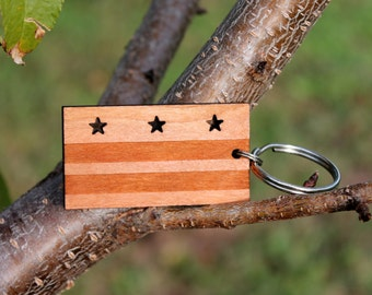 Washington DC flag urban wood keychain