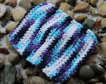 Crochet Multi-Color (Blue/White) Dishcloth