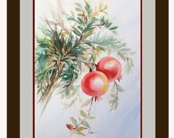 pomegranate painting, pomegranate art, fruit art, fruit painting, watercolor fruit painting, original pomegranate art, small artwork, fruits