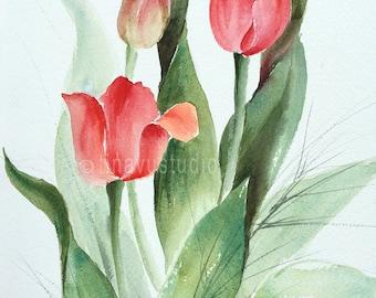 tulip painting, tulip art, red tulips, tulip flower painting, watercolor tulips, original tulip painting, watercolor flower, red flower art