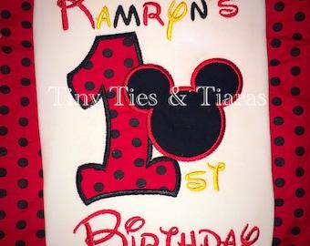 Mickey Minnie custom birthday shirt or onesie