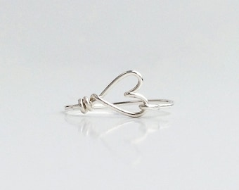 Heart shaped silver wire ring