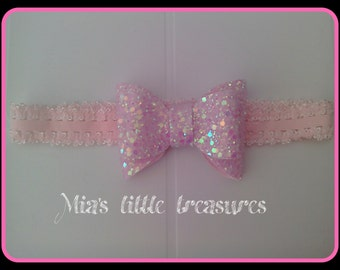 Baby pink, cute, glitter, bow, head band, elastic, girls