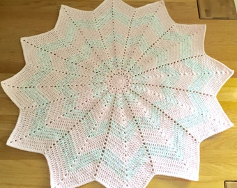 Baby blanket // 12 point star baby blanket // Pale Pink baby blanket // baby girl blanket // pink and multicoloured white 12 point star