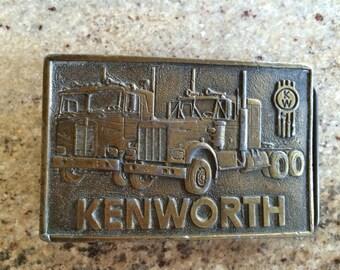 Vintage 1970s Kenworth Brass Belt Buckle