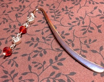 Metal Bookmark with Dangling Red Glass Beads and Silver Tone Celtic Hearts