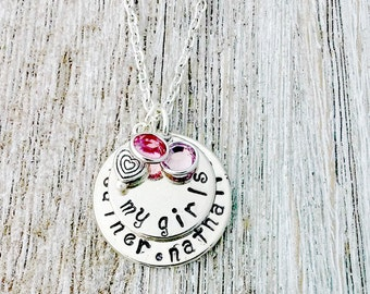 Hand Stamped, My Girls Necklace, Silver,  Mothers Day, Gifts for Her, Mother's Day Gifts