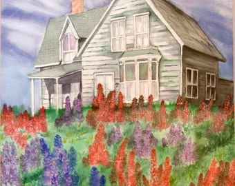 Old House with Lupines