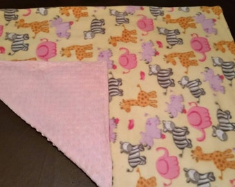 Minky & Fleece Zoo Print Baby Blanket 34 X 26 in. Baby Girl, Minky Dot Backing