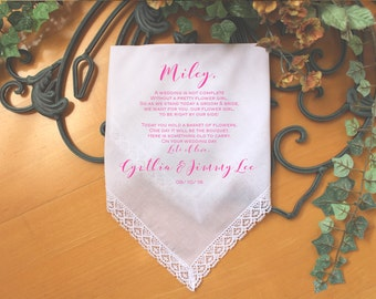 Flower Girl Handkerchief, wedding Handkerchief-custom PRINTED-Personalized.  Today you are YOUNG but the YEARS will pass. LS6FPadCop