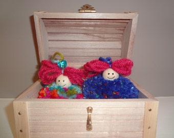Handmade Pom Pom Dolls in Treasure Chest