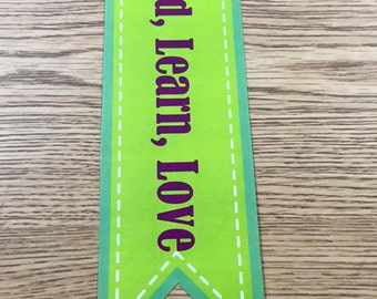 Bookmark (Read, Learn, Love) Green & Purple