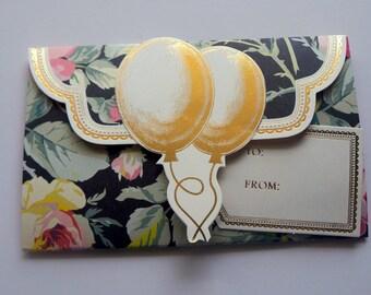 Birthday Gift card holder,  Wallet Gift Card Holder, All Occasion gift, New baby, money holder