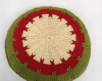 crochet round pillow