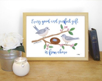 """Watercolour Print """"Every good and perfect gift is from above"""" - James 1:17 (Christian Bible verse)"""