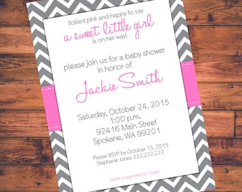 Printable Baby Shower Invitation - Pink w/ Gray Chevron - Digital File