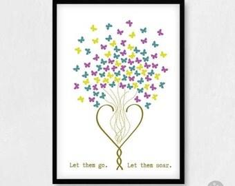 Sympathy card - Let them go. Let them soar. - Leaving home card, bon voyage card, farewell card, goodbye card, loss card, A4 A3 poster print