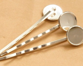 10 hair grips / 12 mm cabochon / silver
