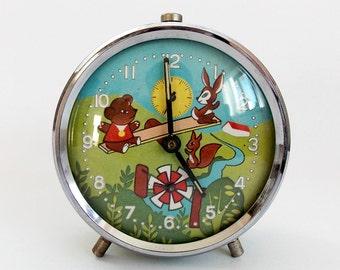 1970s Vintage Childs Alarm clock PRIM Czechoslovakia Childs Room Antique Decor