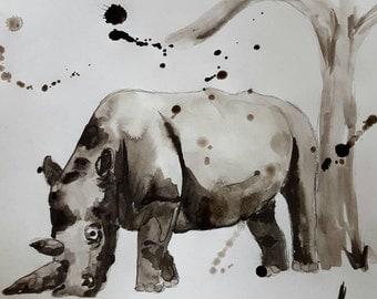 Original ink and brush Rhino