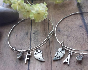 Partners in Crime BFF Best Friends Adjustable Charm Bracelet