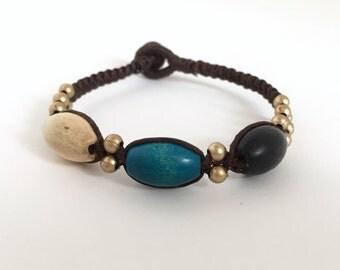 Wood beads bracelet, Wood bracelet, Wood jewelry, Beaded bracelet, Waxed cotton cord bracelet, Friendship bracelet, Vintage bracelet