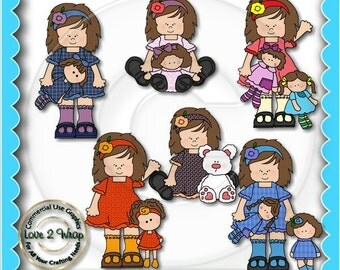 Olivia Rose Loves Dolls Brown Hair, Clipart, Commercial Use
