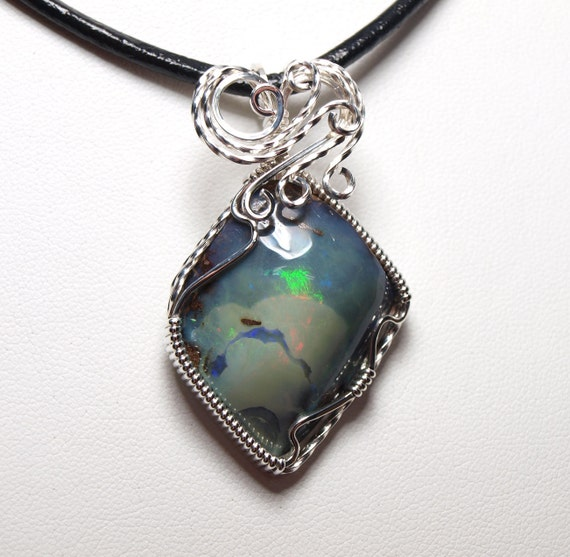 1 2 price boulder opal pendant wire wrapped pendant wire for Jewelry stores boulder co