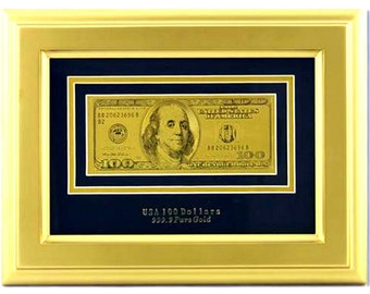 Painting with  100 dollars  bill with a golden frame