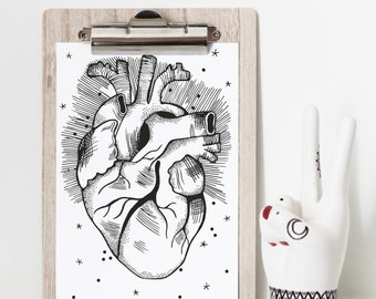 Heart Illustration Art Print A5 Black and White Wall Decor