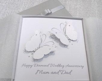 Wedding Or Anniversary Card Handmade Personalised Silver Diamond Parents Grandparents Friends Any Names Keepsake 3D Butterflies
