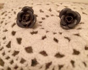 Vintage 90's Gray Rose Earrings