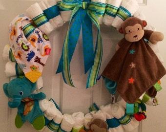 Custom Baby Shower Diaper Wreath