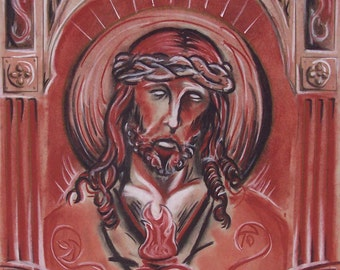 Jesus in Charcoal Print