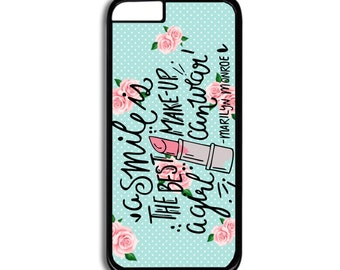 Marilyn Monroe iPhone case- Marilyn Monroe Quote Phone case- A Smile is the Best Makeup iPhone Case- Phone Accessories
