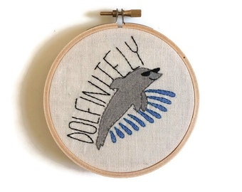 Dolfinitely Hoop Embroidered Wall Art, Embroidered Hoop Art, dolphin embroidery