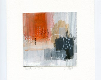 Original Mini Abstract Acrylic Painting In Orange, Greys And Blacks. Painterly Abstract Art With Geometric Patterns, Measures 4 x 4 inches