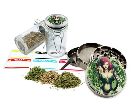 "Green Girl - 2.5"" Zinc Alloy Grinder & 75ml Locking Top Glass Jar Combo Gift Set Item # G022015-002"