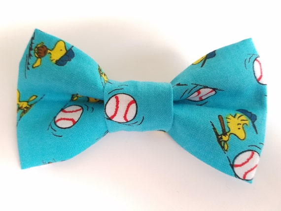 Snoopy Baseball Bow Tie for Cat or Small Dog Collars, Matching Velcro Collar, 100% Sales Goes to Feeding Feral Cats