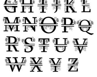 monogram alphabet, alphabet svg, svg alphabet, monogram svg, svg monogram, ornament alphabet, ornament svg, svg ornament, split monogram,svg
