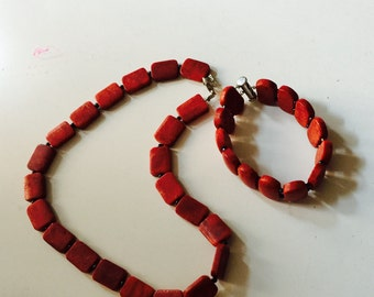 Coral set (necklace & bracelet)