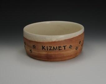 Personalized Handmade Stoneware Dog Bowls