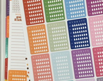 7 Day Hydrate Stickers #1 Planner Stickers! Perfect for your Erin Condren Life Planner! Set of 16 stickers!!