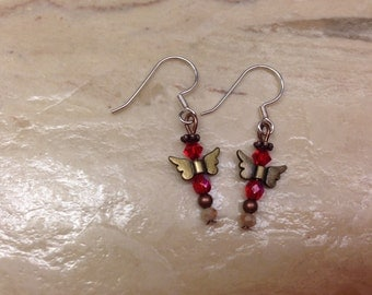 Angel Earrings With Glass Beads And Metal Wings